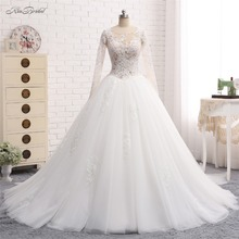 Buy New Arrival Long Wedding Dress 2018 Scoop Neck Long Sleeves Chapel Train Ball Gown Appliques Tulle Bride Dresses Lace Back for $334.54 in AliExpress store