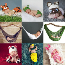 Baby Cute Animal Hat Set Newborn Crochet Knit Clothes Photography Photo Props Outfit Hammock Cocoon Costume SG047