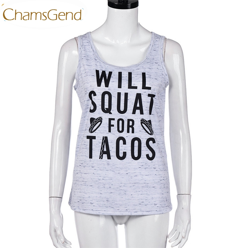 Chamsgend Newly Design WILL WILL SQUAT FOR TACOS Women Gray Workout Tank Top 170228 Drop