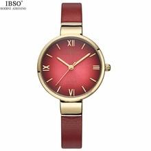 2017 Top Luxury Gold Women Bracelet Watches Lady Antique Quartz IBSO Brand Dress Waterproof Leather Wrist watch Relogio Feminino