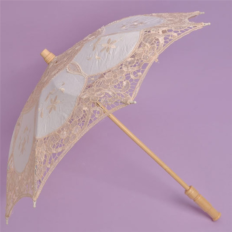 Sun-Umbrella Parasol White Fan Lace Birthday-Party-Decoration Embroidered Handmade Wedding title=