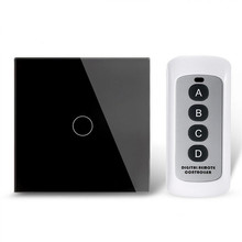 White Black Crystal Glass Single Firing Line Wall Disjunctors Standard Remote Control Switch Mobile Control Touch Switch