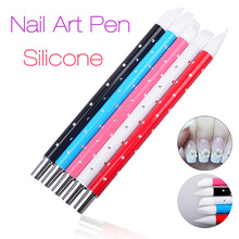 5Pcs Silicone Brush Sculpture Pen Carving Emboss Hollow Shaping Builder Painting Dotting Polish Gel Nail Art Manicure Tools Set(China)