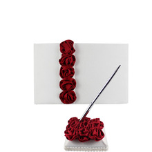 2Pcs/set Red/pink Rose Decor Wedding Satin Guest Book&Pen Set for Bridal Decoration Product Supplies