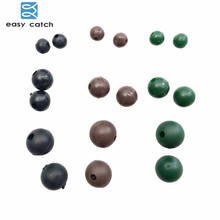 Easy Catch 50pcs Diameter 4mm 5.5mm 8mm Soft Carp Fishing Beads Black Green Coffee Round Floating Rig Beads Carp Fishing Tackle