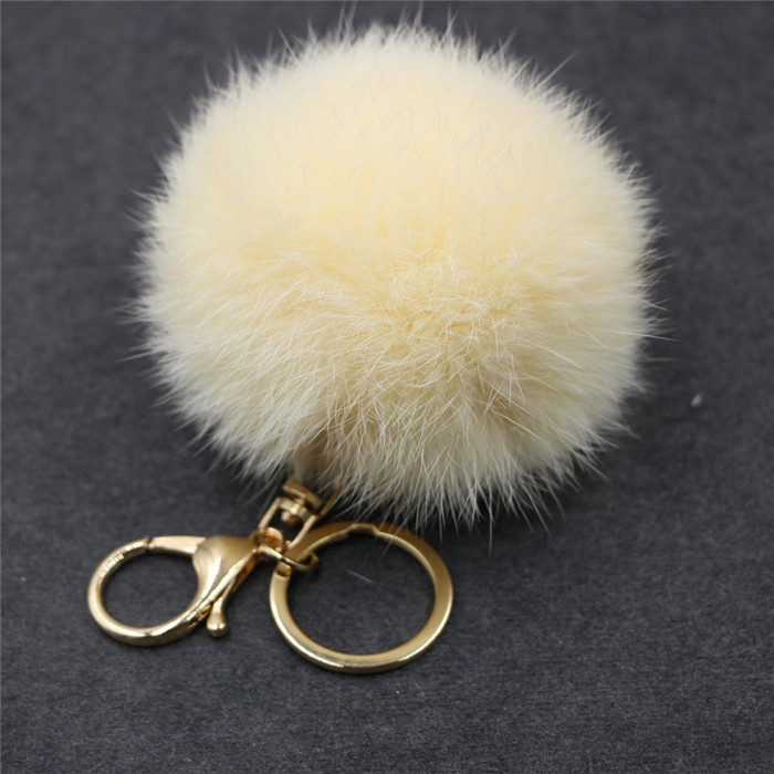 8CM Fluffy Pompom Real Rabbit Fur Ball Key Chain Women Trinket Pompon Hare Fur Toy keyring Bag Charms Ring Keychain Wedding Gift (18)