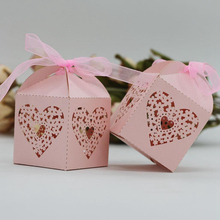 KAZIPA 50pcs Laser Cut Love heart Gift Candy Cake Favor Boxes Decoration Box for Wedding Party Favor Pink Color