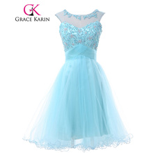 Grace Karin Bridesmaid Dresses Knee Length Short Tulle Lace Pink Blue Lilac Green Pale Turquoise Bridesmaid Dress Ball Gown 2017