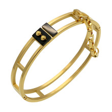 Fashion Rivet Bracelet Pattern Trendy Yellow Gold Color Unisex Jewelry Nail With Chain Cuff Bracelets & Bangles Gift BA101619(China)