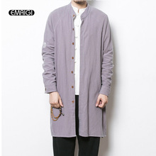 2017 spring new mens trench coat china style men's cotton flax long cardigan autumn male casual linen loose trench jacket