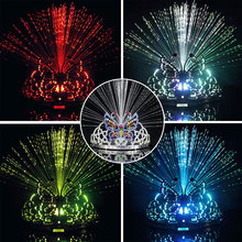 Colored Bowknot  Crown Head Band Glowing Lamp Flashing Optic LED Change Color