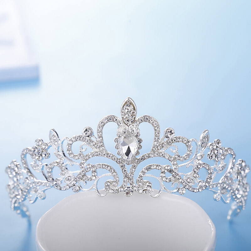 Women Crystal Rhinestone Crown Headband Princess Tiara And Crowns Hair Band Jewelry Silver Bridal Hair Accessories Wedding