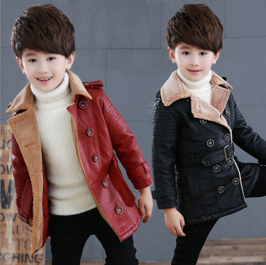 2018 Autumn And Winter Boys Pu Leather Jacket Plus Velvet Coat Turn-down Collar Windbreaker Children Outerwear &amp; Coats Fit 3-7T<br>