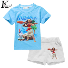 MOANA Elsa Anna Sets Tracksuit For Girls Kids Clothes Sets Summer Boys Sport Suit Short Sleeve Girls Childrens Clothing Costume(China)
