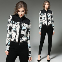 2017 Spring Summer Long Sleeve Patchwork Animal Horse Stars Print Blouses Women Formal Work Wear Casual Tops Shirt