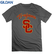 GILDAN T-shirt Summer Style Men T Shirt Nckg Men's Usc Trojans Footballer Short Sleeve T-shirti ,