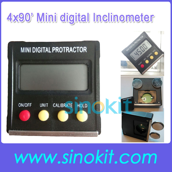 4x90 degree Mulit function Mini digital Inclinometer / Protractor/level box SRPB120 Free Shipping<br><br>Aliexpress