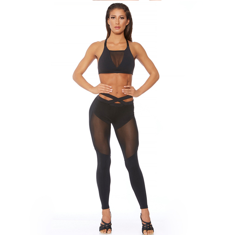 2017 Mesh Patchwork, 2 Pieces Hollow Women Clothing, Tracksuit Crop Top And Leggings 4