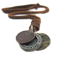 Trendy Punk Style Handmade Long PU Leather Vintage Cents Coins Pendant Necklace For Women Men Jewelry Accessory