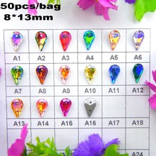 AB colors Two holes 8*13mm 50pcs/bag Waterdrop Tear shape glass Sew on Crystals garment shoes wedding dress ornament diy trim