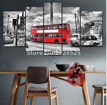 5 Piece London Street Red Bus Canvas Painting Modern Home Decor Wall Art Picture Printing For Living Room Cuadros Decoracion