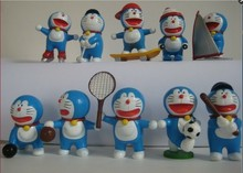 10pcs/lot Action Figure Doraemon figures sports movement PVC 5-8cm Approx OPP Backage Sports toys Collectible Model Anime(China)