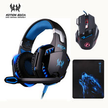 3pcs/combo Kotion EACH G2000 Gaming Headset Headphones with Mic + Estone X7 Mouse Optical 3200DPI PC Mice + Mousepad for PC Game(China)
