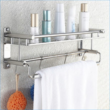 stainless steel bath shelves with towel bar,Multifunctional modern wall mounted bathroom shelving,Free Shipping J15295(China)