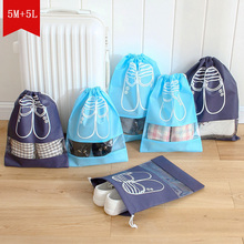 10pcs/lot Drawstring Blue Portable dust-proof Storage Bag for shoes Travel Visual Breathable Organizer Free Shipping(China)
