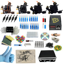 Tattoo Kit Cheap 4 Guns Tattoo Machine Best Tattoo Ink Machine Supplies Body art For Beginner Professional PX110017(China)