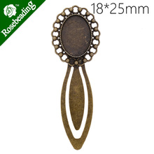 High Quality Vintage Antiqued Bronze simple Bookmark with 18x25mm oval Bezel,length:88mm,10pcs/lot-C4247(China)