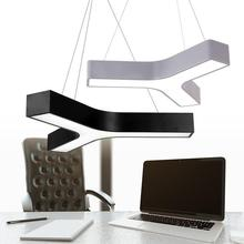 Y shaped Led Study light Lamps Modern Office black grey Led light commercial lighting Conference Room Led strip Pendant lights