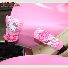 Super Affordable Offer 2Pcs Cute Cartoon Hello Kitty Handbrake Grips Sleeve Gear Covers Car Styling Decoration Auto Accessories