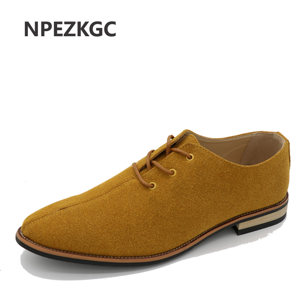 NPEZKGC Men Oxford Shoes sping/autumn Suede Genuine Leather Mens Flat Oxford Casual Shoes Men Flats Loafers zapatos hombre<br>