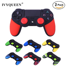 IVYQUEEN 2 pcs Soft Anti-Slip Silicone Skin Case Cover For Sony PlayStation Dualshock 4 PS4 Pro Slim Controller Game Accessories