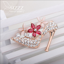 Hot 2016 Fashion jewelry High-heeled Shoes Bow Rhinestone Brooch Lapel Pin Men Hijab Wedding Crystal Brooches For Women(China)
