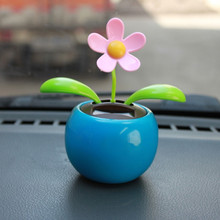 Solar Powered Dancing Flower Swinging Animated Dancer Toy Car Decoration New(China)