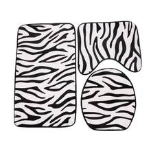 3pcs/set Zebra Pattern Printing Toilet Seat Cover Bathroom Mat Set Non Slip  Flannel Carpet Washroom Rug Floor Bath Mat