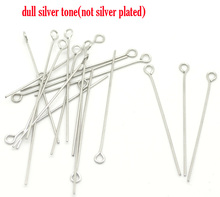 "DoreenBeads Stainless Steel Eye Pins Silver Tone 4cm(1 5/8"") long, 0.7mm ( gauge), 20 Pieces 2017 new"