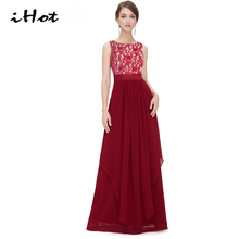IHOT Long gown dinner party dress cheap Lace Chiffon Backless Elegant Ladies Cocktail Vestido Maxi robe women runway 2016