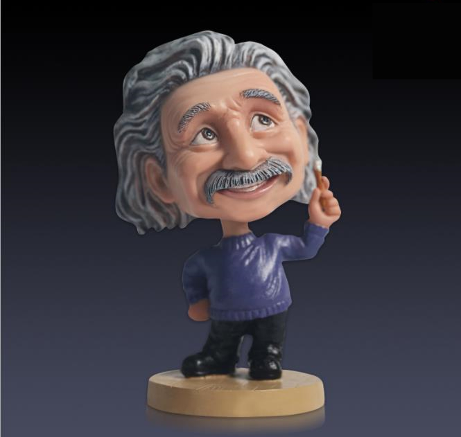 2 Color Einstein Funny Action figure Doll Joke Toy bobble head Resin Arts Handmade Car Model Collectible Decoration Kid Idol<br>