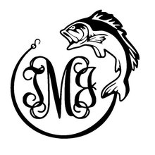 13.5CM*13.5CM Monogram Initials FishCar Stickers And Car Styling Decorating Stickers Black/Sliver C8-0156(China)