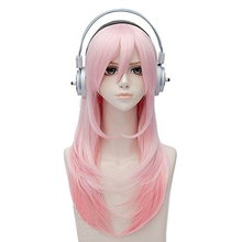 Handmade Super Sonico Cosplay Wig Pink Hair Wigs for Women Straight Heat Resistant Synthetic Wigs For Halloween Party