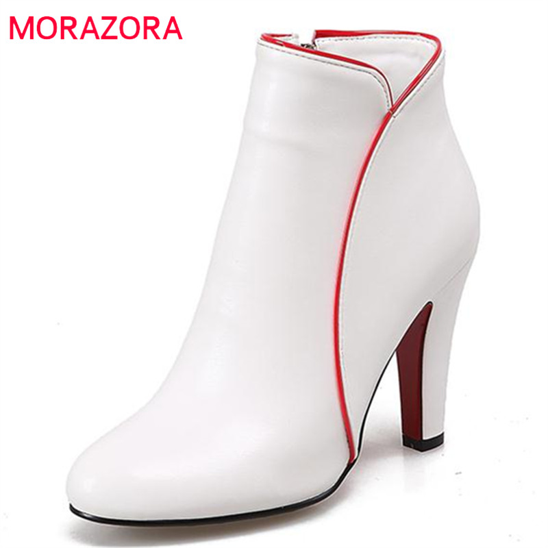 MORAZORA Large size 34-47 wedding party ankle boots pu solid zipper high heels boots for women in autumn elegant fashion boots<br>