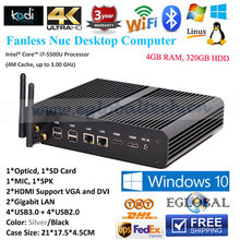 Industrial Fanless Mini PC Computer 4G RAM 320G HDD Micro PC i7 5500u i5 5257u Iris 6100 2*HDMI+2*LAN+SD Card+Optical Fiber+USB
