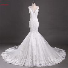 Buy Real Picture Appliques Lace Wedding Dress Sexy Vestidos De Novias 2017 Mermaid V-Neck Chapel Train Bridal dress robe de mariage for $266.00 in AliExpress store