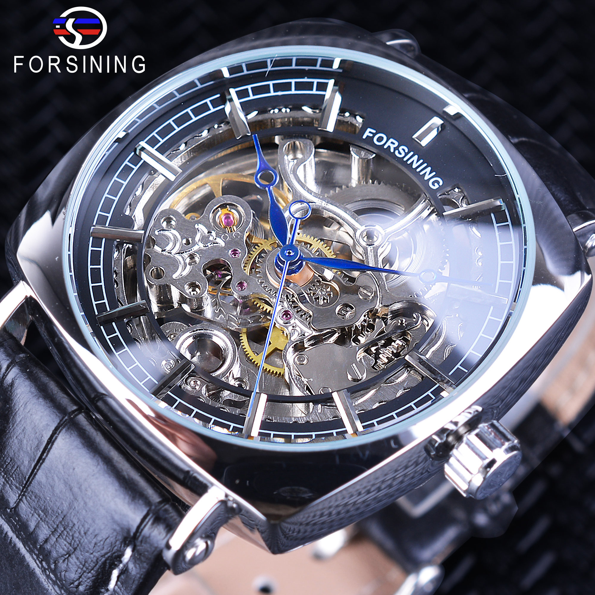 Forsining New Fashion Silver Case Skeleton Square Dial Black Leather Belt Men Mechanical Automatic Watches Waterproof Male Clock<br>