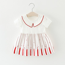 Little Girl Dress Ruffle Collar Piano Sarafan Musical Note Cotton Dress Christening Gowns For Girls Children Summer Clothing