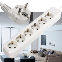 Hot EU Plug 6 Outlets AC Power Socket 250V Electrical Plug Adaptor Extension Socket Cable Wall Mains Lead Plug Strip Adapter