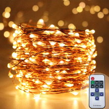 30M warm white copper wire starry fairy string lights dimmable+remote control,wedding garden tree festival decorative strings(China)